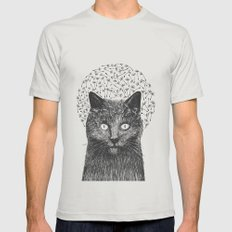 Dandelion black cat Mens Fitted Tee Silver SMALL