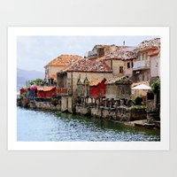 Beautiful villages on the banks of the bay Art Print