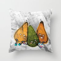 Drunken Pears Brothers Throw Pillow