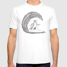 Surf's Up SMALL White Mens Fitted Tee