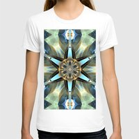 Abstract Earth Tones Emb… Womens Fitted Tee White SMALL