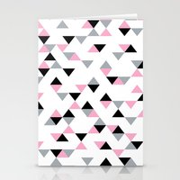 Triangles Black and Pink Stationery Cards