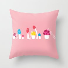 Mushroom Maintenance Pink Throw Pillow