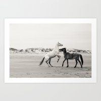 Wild Horses 5 - Black An… Art Print