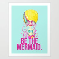 Golden.  A Happy Mermaid Art Print