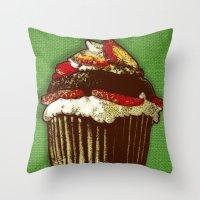 Strawberry Cake Throw Pillow