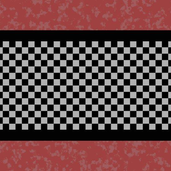BW Checkered/Coral Art Print