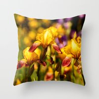 Bearded Irises Throw Pillow