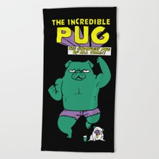 The Incredible Pug Beach Towel