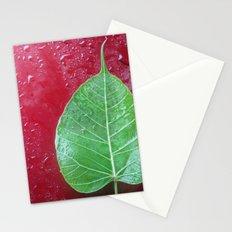 Leaf on red Stationery Cards