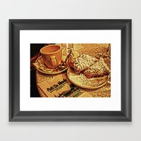 Coffee And Beignets At T… Framed Art Print