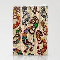 Kokopelli Rainbow Colors on Tribal Pattern  Stationery Cards