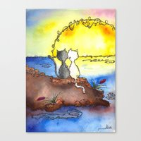 Cats at Sunset Canvas Print