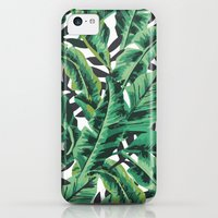 iPhone 5c Cases featuring Tropical Glam Banana Leaf Print by Nikki