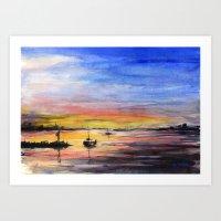Sunset Watercolor Painting Landscape Art Art Print