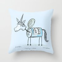 'Hot Dogs' the unican Throw Pillow