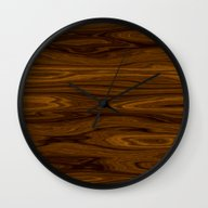 Wall Clock featuring Wood Brown by Fine2art