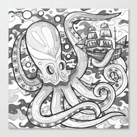 Octopus Attack Canvas Print