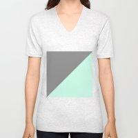 Grey And Mint Half Trian… Unisex V-Neck