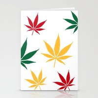Rasta color leaves on white  Stationery Cards