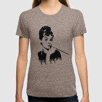 Audrey Hepburn Breakfast… Womens Fitted Tee Tri-Coffee SMALL