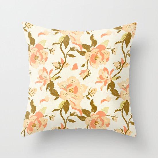 Magnolia Pattern Throw Pillow