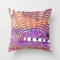 Purple and Orange Squiggle Print Throw Pillow