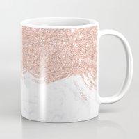 Trendy modern faux glitter rose gold brushstrokes white marble  Mug