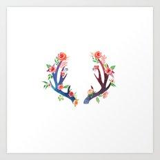 Roses And Antler Art Print