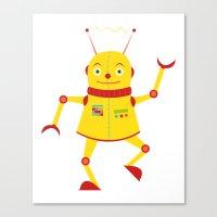 Dancing Robot Yellow Canvas Print