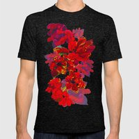 Inky Tulips Black Mens Fitted Tee Tri-Black SMALL