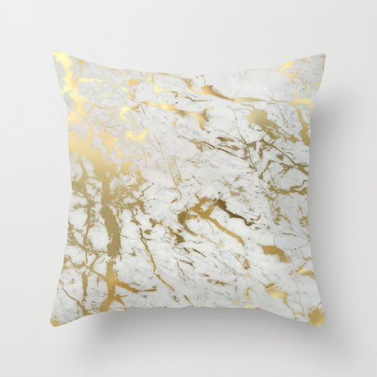 Decorative Pillows White And Gold : Gold marble Throw Pillow by Marta Olga Klara Society6