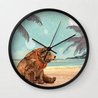 Beach Bear Wall Clock