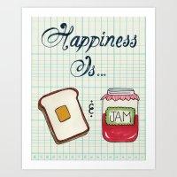 Happiness Is Toast & Jam Art Print
