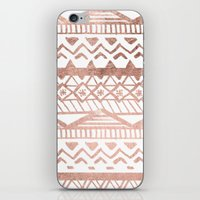 Faux rose gold handdrawn trendy tribal aztec pattern iPhone & iPod Skin