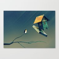 Flying Bird...house Canvas Print