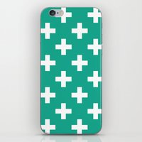 Emerald and White Plus Signs  iPhone & iPod Skin