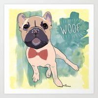 Frenchie Art. Bruno. Art Print