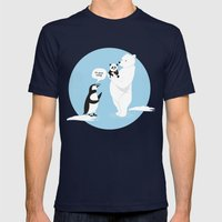 How little Pandas are born Mens Fitted Tee Navy SMALL