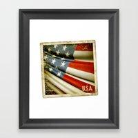 Grunge sticker of United States flag Framed Art Print