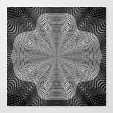 Modern Black and White Curvy Swirled Stripes Canvas Print