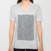 Hand Knit Grey Unisex V-Neck