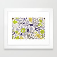 floral garden - blues and greens Framed Art Print