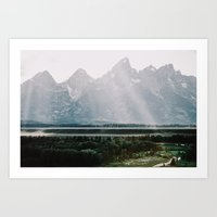 Afternoon Sun Over Teton Mountains Art Print