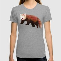 Red Panda Womens Fitted Tee Tri-Grey SMALL