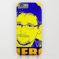 iPhone & iPod Case featuring Edward Snowden Hero by InvaderDig