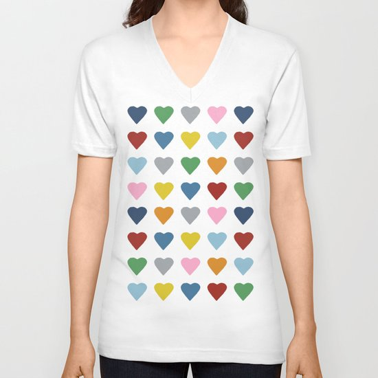 64 Hearts V-neck T-shirt