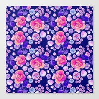 Rosaful rose pattern # Navy Canvas Print
