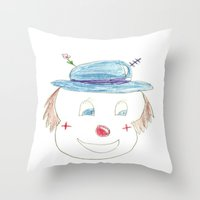 Childhood Drawings (clown) Throw Pillow