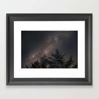 Milky way over the deep forest. Cygnus and North America Nebula Framed Art Print